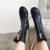 2019春季新款前拉鏈英倫風馬丁靴歐美粗跟女騎士靴復古中筒短靴女  晴光小語