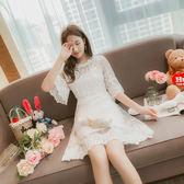 VK旗艦店 韓國風時尚新款名媛收腰蕾絲拼接裙短袖洋裝