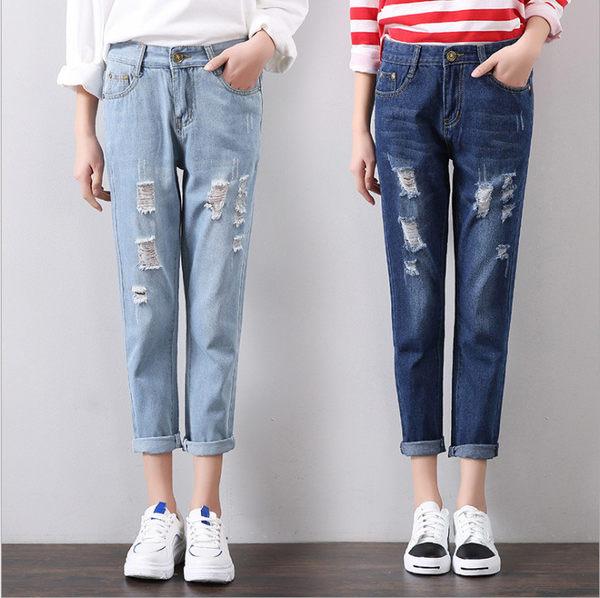 韓版 反折 打折褲 刷白 刷破牛仔褲 單寧牛仔褲 男孩風牛仔褲 寬鬆 直筒 丹寧牛仔長褲