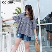 中大尺碼 格紋喇叭袖娃娃衫上衣~共兩色 - 適XL~4L《 66307J 》CC-GIRL