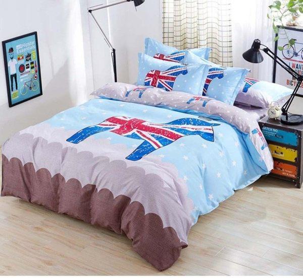 ☆歡樂寶貝商城☆歐洲大不列顛皇冠英倫馬 / 英倫士兵棉質床包四件套
