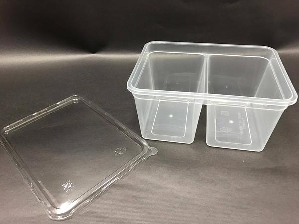 5入含蓋 800CC雙格分享盒 餅乾盒【S014】點心盒 收納盒 蛋糕盒 PP盒 保鮮盒 西點盒 塑膠盒