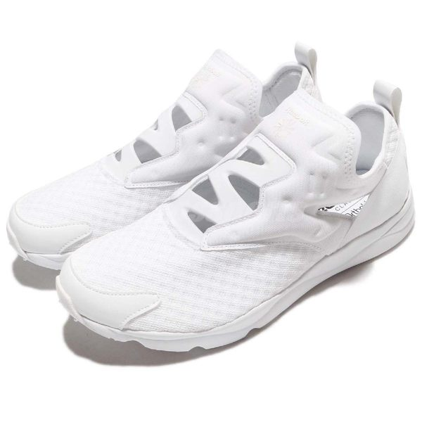【六折特賣】Reebok 休閒鞋 Furylite Slip-On EMB 白 全白 低筒 無鞋帶 男鞋【PUMP306】 BD4882