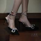 細跟高跟鞋 黑色蝴蝶結高跟鞋女2021年新款春細跟網紅設計感小眾氣質水鑽涼鞋 交換禮物