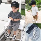兒童格子襯衫夏季寶寶短袖全棉翻領襯衣男童韓版薄外套潮 快速出貨
