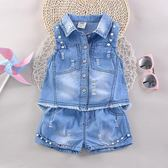 兒童夏裝女寶寶尖領背心短褲套裝1-2-3-4歲女童卡通牛仔兩件套潮   夢曼森居家