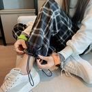 黑白格子褲子女褲寬鬆直筒闊腿夏季休閒2021春秋新款薄款高腰垂感【快速出貨】