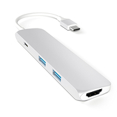 【美國代購】Satechi 鋁合金 Type-C Hub with Charging Port, 4K HDMI for MacBook 12/MBP 2016-Silver