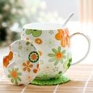 骨瓷杯 水杯家用帶蓋勺可愛女咖啡杯好看的馬克杯陶瓷杯子【快速出貨】