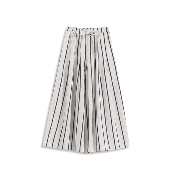 Queen Shop【04060279】腰抽繩鬆緊直條紋棉麻寬褲 兩色售*預購*