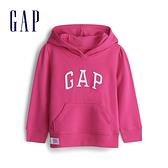 Gap 女幼童 Logo棉質縮口內裡連帽上衣 567905-亮玫粉