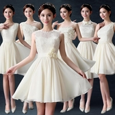 伴娘服短版新品新款秋冬季韓式香檳色姐妹團大尺碼連身裙婚禮伴娘