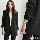 小西裝外套女2019早秋新款韓版時尚輕熟休閒寬鬆英倫風長袖外套 EY8504【極致男人】
