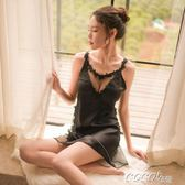 情趣睡衣 性感蕾絲薄紗可外穿睡衣睡裙絲綢女夏季深V火辣情趣吊帶情調衣人 coco衣巷