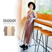 【HC5055】V領素色麻花織紋綁帶針織洋