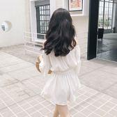一字肩連身褲夏季韓版顯瘦純色喇叭袖收腰高腰雪紡短褲女 概念3C旗艦店