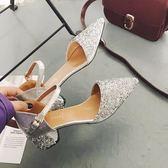 2018夏季新款女士涼鞋包頭中跟淑女鞋原宿百搭一字扣粗跟鞋子zzy99『愛尚生活館』