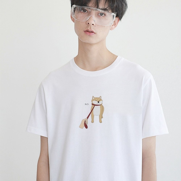 中間小圖 Shiba Inu No 短袖t恤 白色 衣服 短T 寬鬆 情侶裝 柴犬 日本 動物 狗 班服