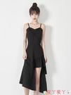 吊帶洋裝2021夏新款法式設計感胖mm吊帶小黑裙女氣質大碼不規則洋氣連身裙 愛丫