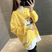 2019春裝新款韓版套頭學生衛衣女假兩件破洞外套很仙的上衣洋氣 嬌糖小屋