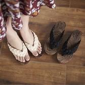 木屐女日式中國風少女涼拖鞋防滑人字拖坡跟厚底外穿木拖鞋女夏