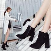 秋冬新款短筒馬丁靴潮女短靴高跟粗跟尖頭百搭加絨踝靴及裸靴 韓慕精品