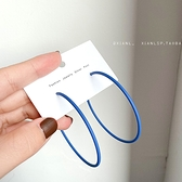 氣質韓國藍色大小耳圈女2021年新款潮半圈耳環925純銀針耳釘耳飾 童趣屋