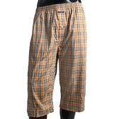 BURBERRY經典大格紋棉質七分居家褲(駝色)085012-3
