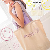 ★現貨★MIUSTAR SMILE笑臉民族刺繡帆布肩背包(共2色)【NF2628SR】