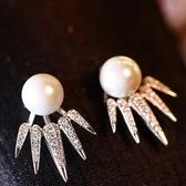 耳環 925純銀鑲鑽-迷人珍珠生日情人節禮物女耳飾73du38【時尚巴黎】