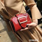 包包女2019新款韓版潮包漆皮貝殼小方包百搭時尚簡約單肩斜挎女包