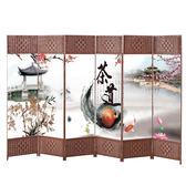 中式屏風隔斷客廳簡約現代雙面布藝酒店辦公可折疊玄關移動折屏-6片裝—聖誕交換禮物