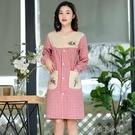 可愛時尚正穿罩衣成人棉質工作服廚房防水防油日系圍裙長袖前扣衣 扣子小鋪