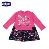 chicco-To Be BG-剪接滿底印花朵+星星長袖洋裝