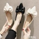 淺口單鞋女仙女夏款新款尖頭鞋子百搭2020夏季黑色女鞋網紅平底鞋 果果輕時尚