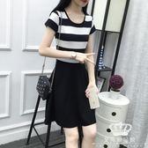 短袖洋裝 中長款黑白條紋修身顯瘦 24小時現貨