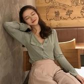 秋季女裝新款氣質不規則扣薄款溫柔風斜襟長袖T恤上衣純色開衫潮