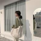 新款帆布袋韓國百搭INS超火單肩手提女包原宿學生包大容量大包包  【全館免運】