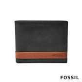 FOSSIL QUINN 真皮證件格男夾-黑色X咖啡色 ML3644001