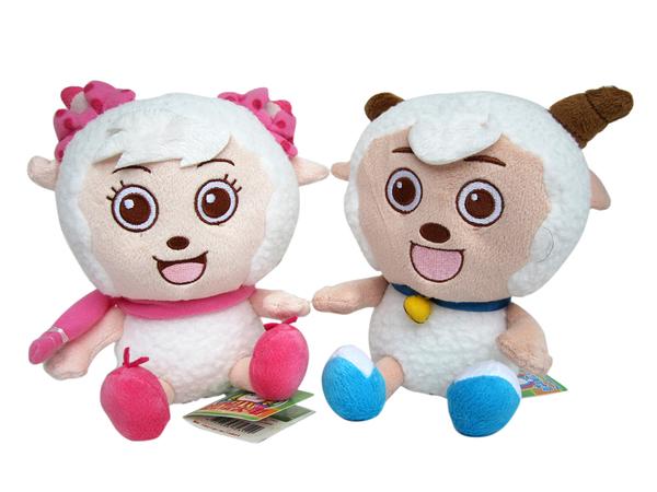【卡漫城】 喜羊羊 玩偶 二隻一組 16cm ㊣版 絨毛娃娃 美羊羊 Happy sheep 卡通 綿羊