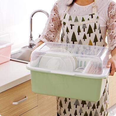 瀝水架 帶蓋碗碟架放碗架裝碗筷收納盒家用廚房塑料碗柜餐具置物架 - 古梵希
