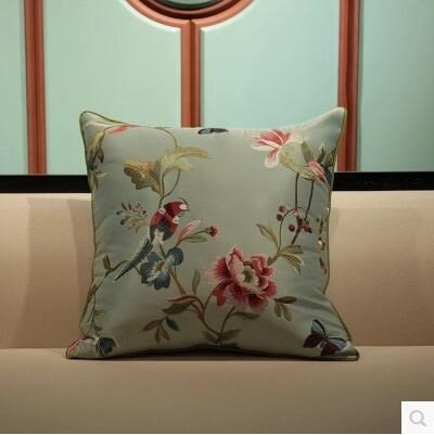 新中式高檔花鳥刺繡抱枕紅木沙發靠背床頭大靠墊
