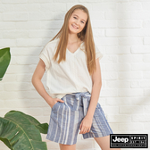 【JEEP】女裝 優雅蕾絲短袖襯衫-白色