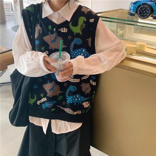 秋裝韓國chic童趣卡通印花馬甲外套女百搭學生圓領無袖馬夾上衣1入