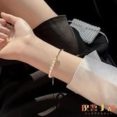 天然珍珠手鏈設計手串簡約百搭閨蜜手鐲女氣質手飾品【倪醬小舖】