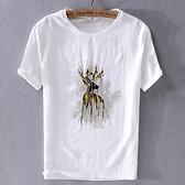 亞麻T恤-小鹿刺繡棉麻薄款短袖男上衣73xf19【巴黎精品】