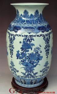 景德鎮 陶瓷器 手繪青花將軍罐