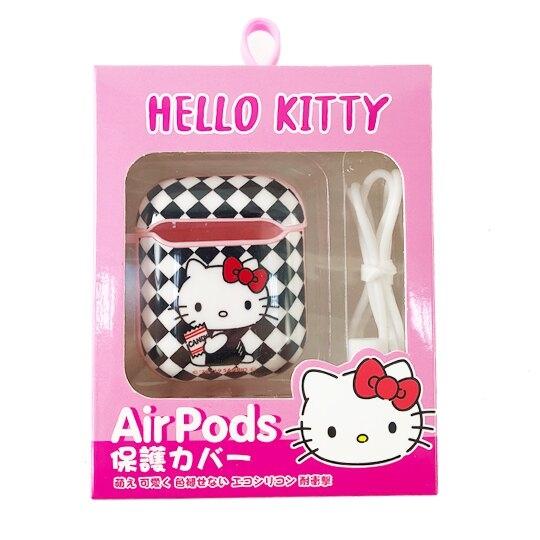 小禮堂 Hello Kitty Apple Airpods 保護殼 藍牙耳機盒 保護套 裝飾殼 (黑 格紋) 4710810-65012