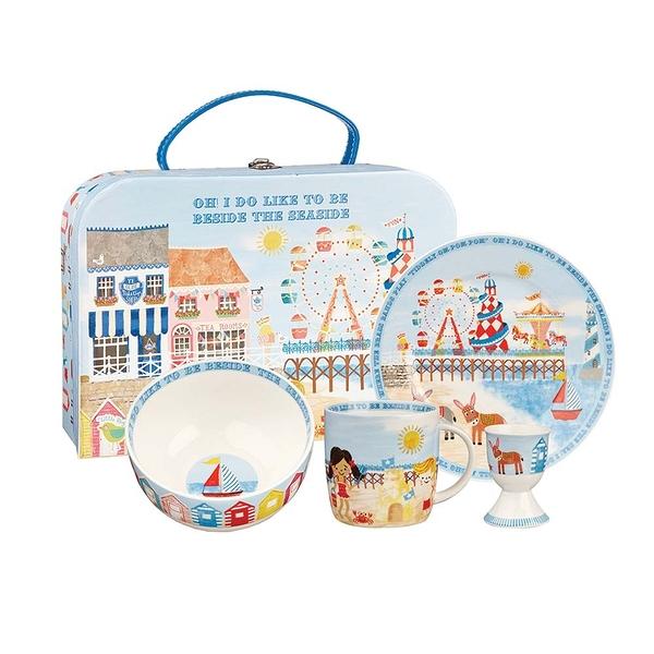 英國Churchill Queens兒童精瓷4件餐具組(陽光海灘-附原裝彩盒)