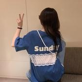 蕾絲拼接短袖T恤女夏季2020年新款女裝韓版寬松打底衫bm心機上衣